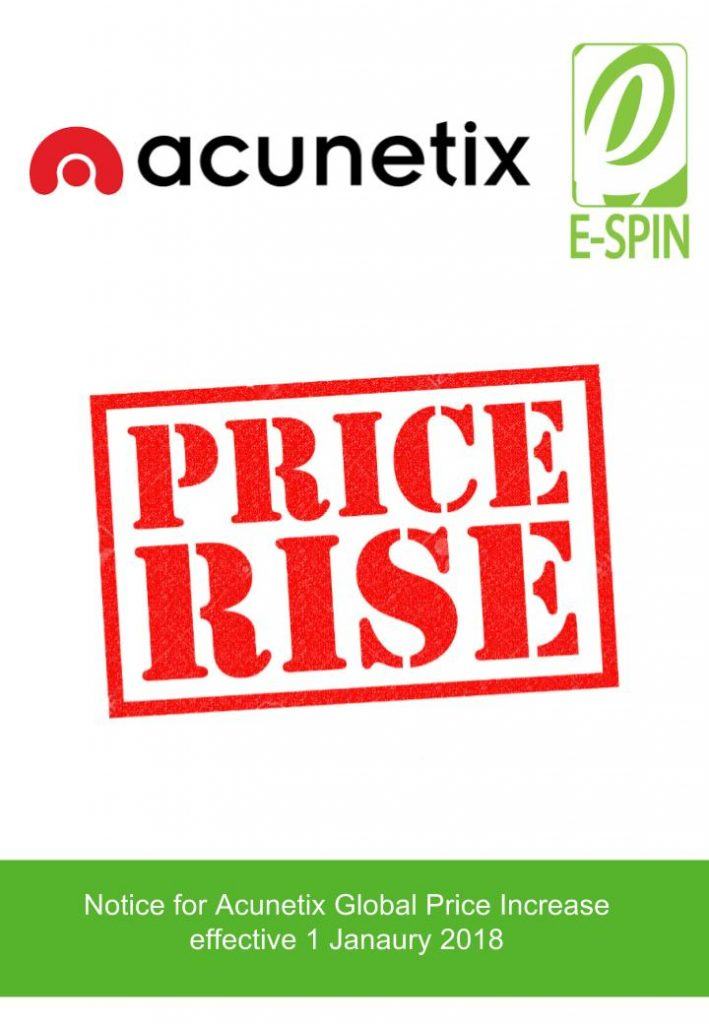Acunetix Global price increase effective 1 January 2018