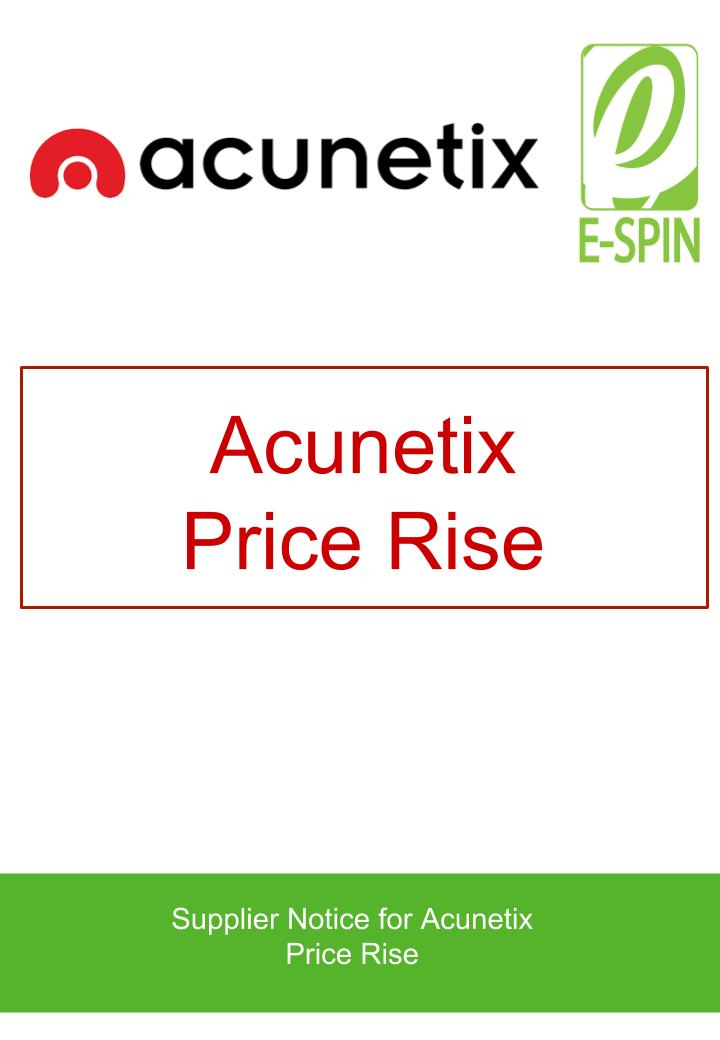 Acunetix Notice for Price Rise